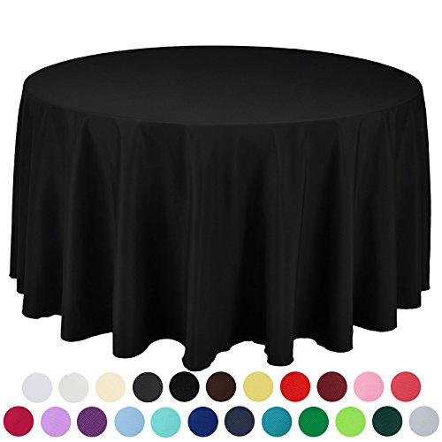 VEEYOO 120 inch Round Solid Polyester Tablecloth for Wedding Restaurant Party , Black