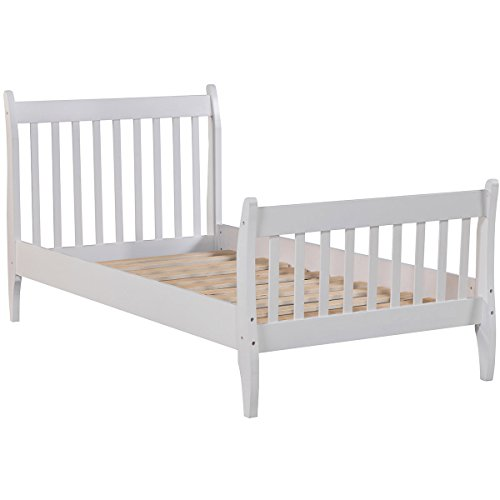 Merax Wood Platform Bed Frame Mattress Foundation Slat Support, Twin (White)