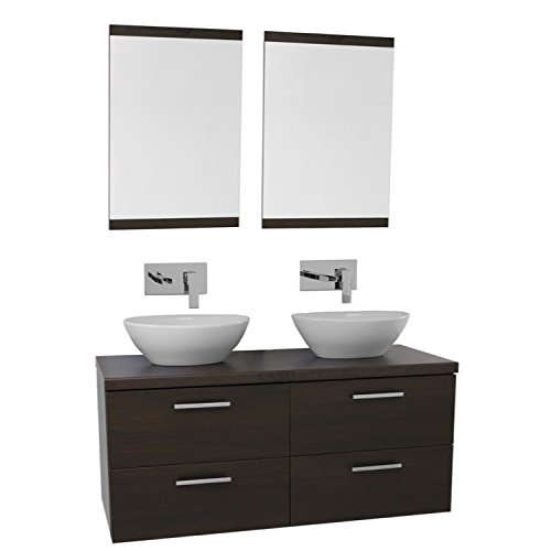 Iotti AN433 Aurora Double Vessel Sink Bathroom Vanity Wall Mounted with Mirror Included, 45