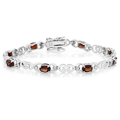 (Gem Stone King Garnet and Diamond Accent Rhodium Plated 925 Sterling Silver 7 Inch Bracelet 5.00 Ctw)