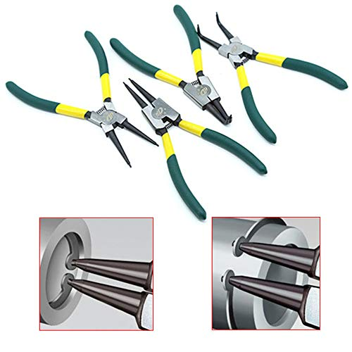 SDFSX 4-piece snap ring pliers set Internal/external circlip pliers kit (tip diameter 0.07'') Straight/bending pliers For ring shape remover fixing