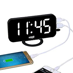 EAAGD Easy Snooze and Time Setting LED Digital Alarm Clock, Charging Station Phone Charger with Dual USB Port