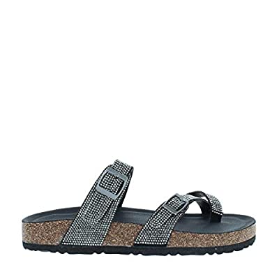 Women's Rhinestone Cross Strap Buckle Sandal with Cushioned Footbed