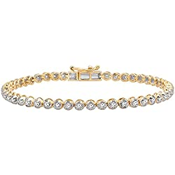 1.00 Carat (ctw) 10K Gold Round Cut White Diamond Ladies Tennis Bracelet 1 CT
