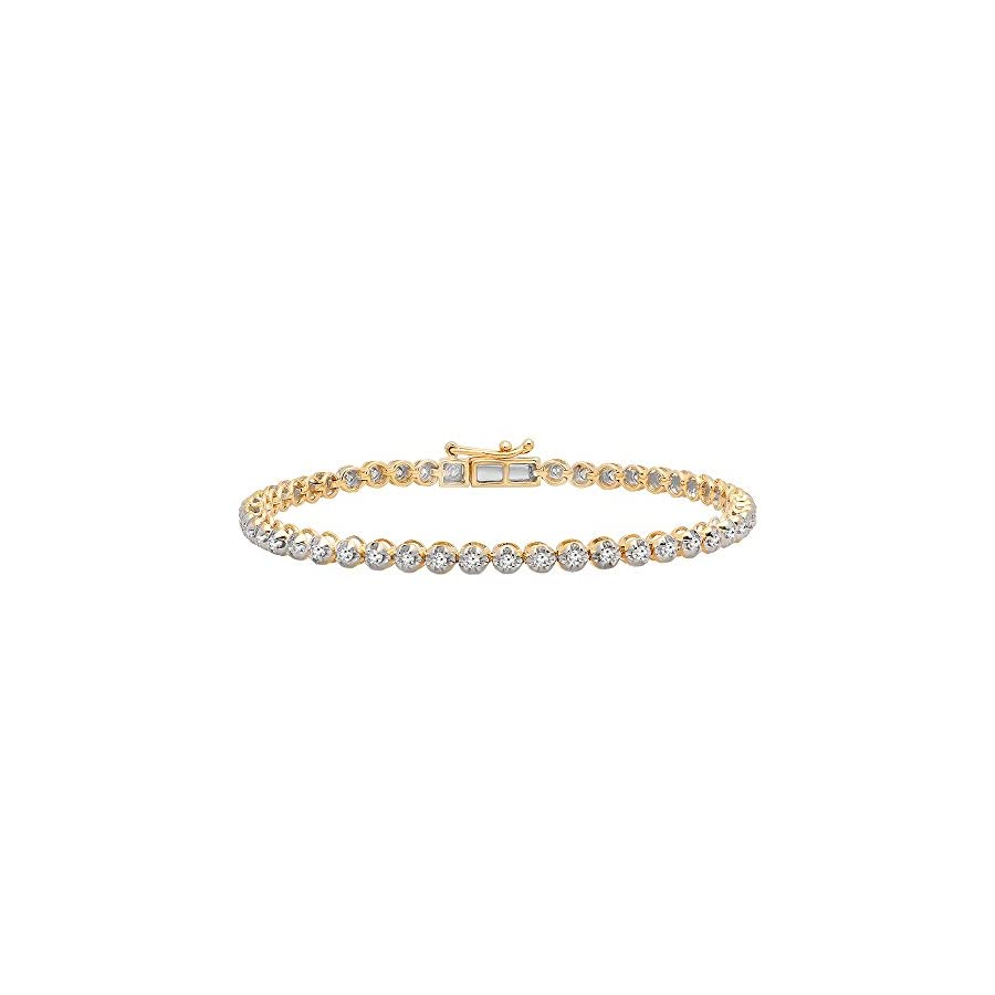 Dazzlingrock Collection 1.00 Carat (ctw) 10K Gold Round Cut White Diamond Ladies Tennis Bracelet 1 CT