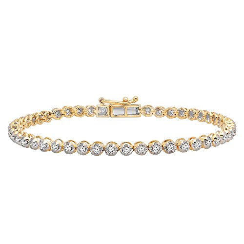 Dazzlingrock Collection 1.00 Carat (ctw) 10K Yellow Gold Round Cut White Diamond Ladies Tennis Bracelet 1 CT