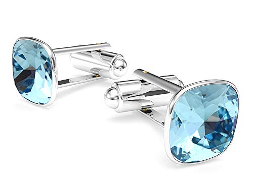(Beforya Paris - Cufflinks - Aquamarine - 925 Sterling Silver - with SQUARE Swarovski - 925 Sterling Silver Beautiful Men's Cufflinks with Gift Box)