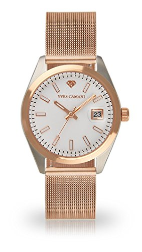 YVES CAMANI Sophie Women's Wrist Watch Quartz Analog Rosegold Stainless Steel White Dial YC1099-B-695