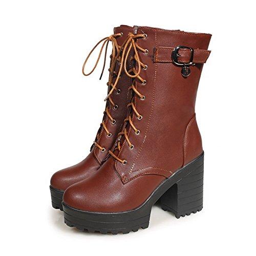 AgooLar Damen Schnüren Mittler Absatz Blend-Materialien Rein Niedrig-Spitze Stiefel, Schwarz, 32
