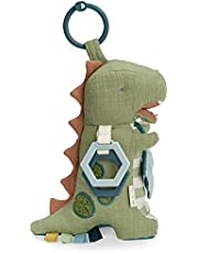 Itzy Ritzy Link & Love Activity Plush with Teether; Attaches to Stroller or Car Seat; Includes Jingle Sound & Clinking Rings, Dinosaur