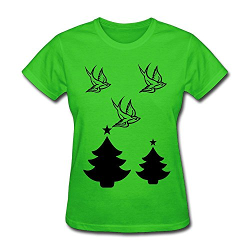 Fengzedid Swallow Bird Tattoo T-Shirt Design Women's Short Sleeve Fashion T ShirtSize S Color Kellygreen