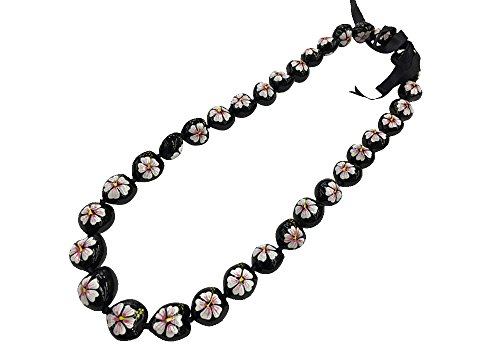 DK Hawaiian Collections Style Kukui Nut Lei Hibiscus Flower Hand Painted 33 Nuts Necklace (White)