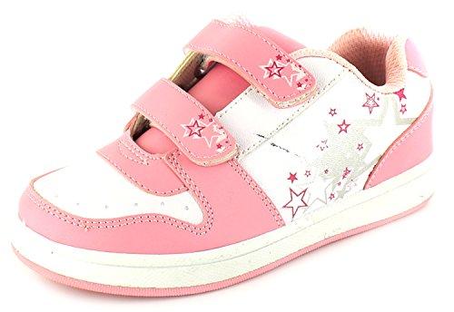 New Girls/Kinder Wei脽e/Pink Zwillings Klettverschluss Trainer - wei