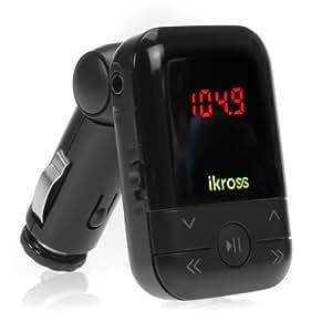 iKross Transmisor FM de Coche, con Puerto USB/MMC para Tarjeta SD, MP3, Smartphone, Reproductor MP3, Negro