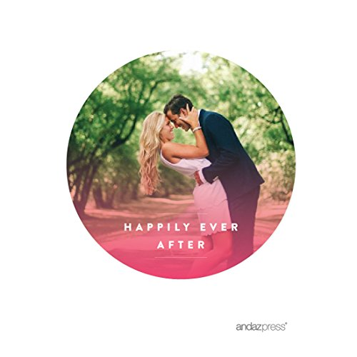 Andaz Press Pink Watercolor Wedding Collection, Photo Personalized Round Circle Label Stickers, 40-Pack, Custom Image