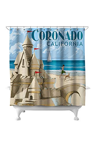 Lantern Press Coronado, California - Sandcastle 46426 (74x74 Polyester Shower Curtain)