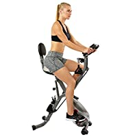 Sunny Health & Fitness Foldable Semi Recumbent Magnetic Upright Exercise Bike w/Pulse Rate Monitoring, Adjustable Arm Resistance Bands and LCD Monitor - SF-B2710 by Sunny Distributor Inc.