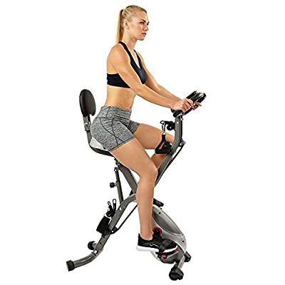 Sunny Health & Fitness Foldable Semi Recumbent Magnetic Upright Exercise Bike w/ Pulse Rate Monitoring, Adjustable Arm Resistance Bands and LCD Monitor - SF-B2710 from Sunny Distributor Inc.