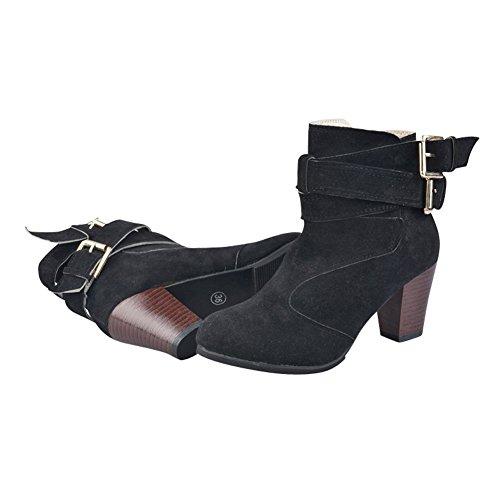 Black Metal Ankle Buckle Chunky Boots Womens Zipper Belt Side fereshte Ladies Heel wqRPAA