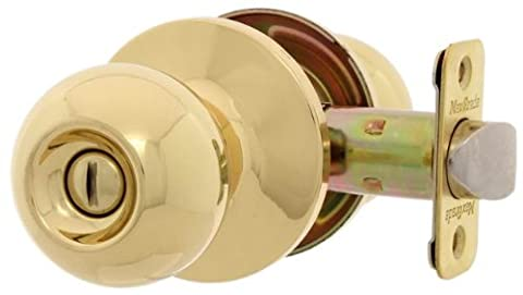 MaxGrade 200OXF3 Oxford Ball Style Privacy Bed/Bath Door Knob Lockset, Bright Brass - Privacy Door Set