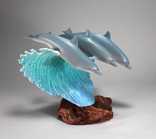 SURFING DOLPHINS SCULPTURE from JOHN PERRY 12in high Statue Airbrushed Statue (Dolphins Surfing)