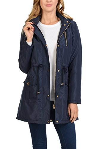 Auliné Collection Women's Satin Faux Fur Lined Hoodie Long Coat Anorak Jacket Navy (Fur Anorak)