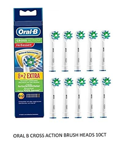 10 Braun Oral-B Cross Action Replacement Toothbrush Heads by Oral-B (Oral B Professional Braun Heads)