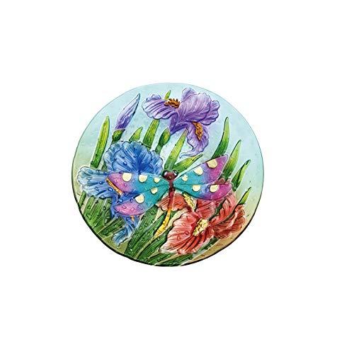 House Bird Dragonfly (Evergreen Garden Dragonfly Garden Pebble Glass Bird Bath Bowl)