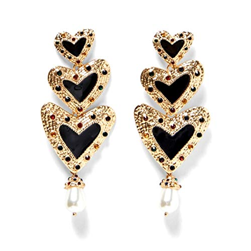 Global Huntress Sophisticated Long Triple Hearts in Gold Tone Adorned with Multi Colored Stones Dangle Drop Earrings with Rhinestones