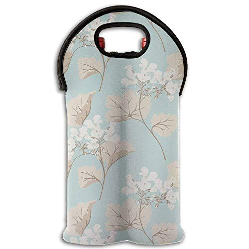 Wine Tote Carrier Bag Plum Flora Purse for Champagne,Water Bottles Design9 - Flora Champagne