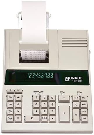 (1) Monroe 122Pdx Medium-Duty 12-Digit Print/Display Calculator mit die Fastest Printing Speed
