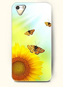 OOFIT phone case design with Three butterflies and a sunflower for Apple iPhone 4 4s