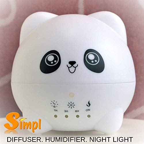 Cute Panda Aromatherapy Essential Oil Ultrasonic Diffuser- Cool Mist Humidifier-Whisper Quiet- 300ml -Adjustable Mist Mode,Waterless Auto Off Function-7 Color LED Night Light-Home-Bedroom-Perfect Gift