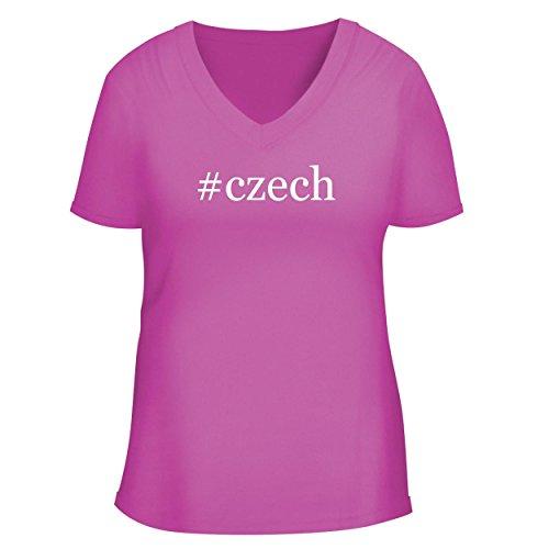 BH Cool Designs #Czech - Cute Women's V Neck Graphic Tee, Fuchsia, Medium
