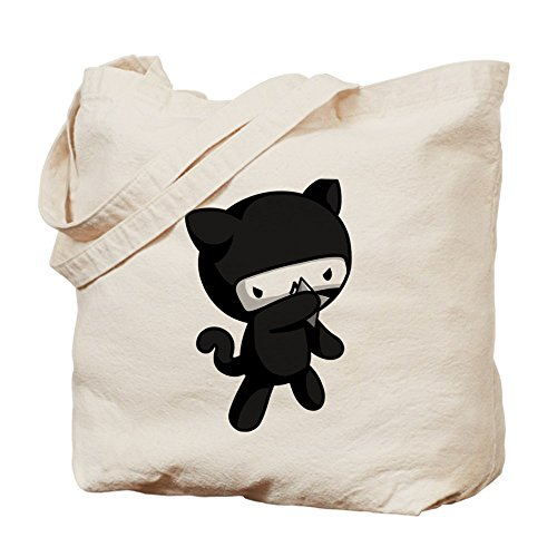 Cafepress – Ninja Kitty Tote bag – Borsa di tela naturale, tessuto in iuta