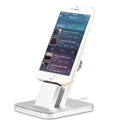 iPhone stand.Ziku Aluminum iPhone Charger Stand Dock station for iPhone Charging Dock, iPhone Charger, Stand for iPhone 8, 8 Plus, iPhone X, iPhone 7, 7 Plus, 6, 6 Plus, Support Charging with Case