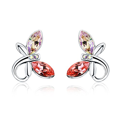Earrings Dragonfly (HERLINA Dragonfly Stud Earrings for Women's Made with Swarovski Crystals Jewelry)