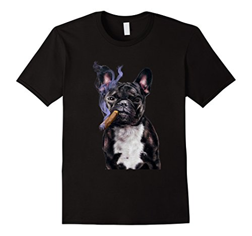 er French Bull Dog Smoking Cigar, Bad Dog 3XL Black (Gangster Black T-shirt)