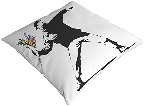 One Bella Casa Rage Flowers Throw Pillow by Banksy, 18