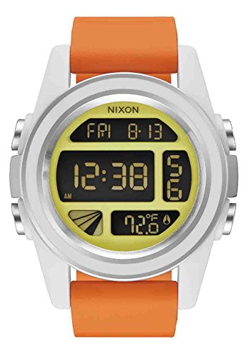 Nixon Men's 'Unit SW, Rebel Pilot' Japanese Automatic Rubber and Silicone Casual Watch, Color:Orange (Model: A197SW-2384-00)