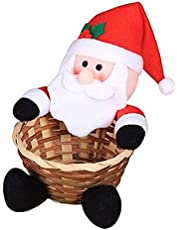 Christmas Candy Storage Basket Cartoon Santa Snowman Elk Xmas Party Gift Holder Xmas Decor Ornaments Party Decor Gifts for Kids and Adults