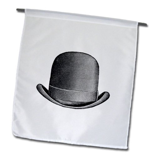 3dRose fl_109538_1 Vintage Sketch of Mans Derby Hat Garden Flag, 12 by 18-Inch