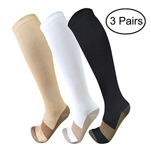 Copper Compression Socks For Men & Women(3 Pairs)- Best For Running,Athletic,Medical,Pregnancy and Travel -15-20mmHg (S/M, Multicoloured 2)