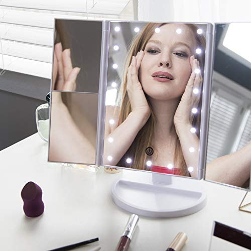 New Makeup Mirror Prime 22 Led Vanity Mirror 1x 2x 3x Magnification Portable Trifold Make Up Mirror
