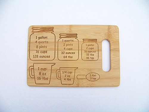 - Bamboo cutting board with conversion measurements, 6 inches by 9 inches, great for every kitchen!