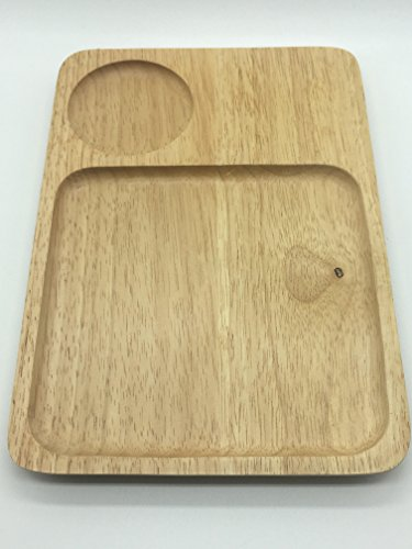 Seven One Wooden serving board plate rectangle shape with hole for glass and snacks - Lisences Plate Flipper