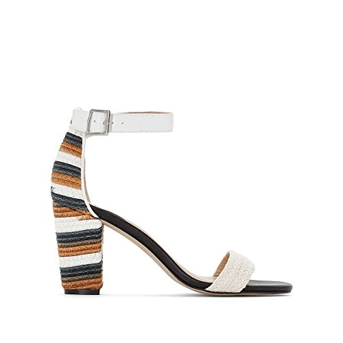 La Redoute Collections Womens Sandals with Patterned Heel White