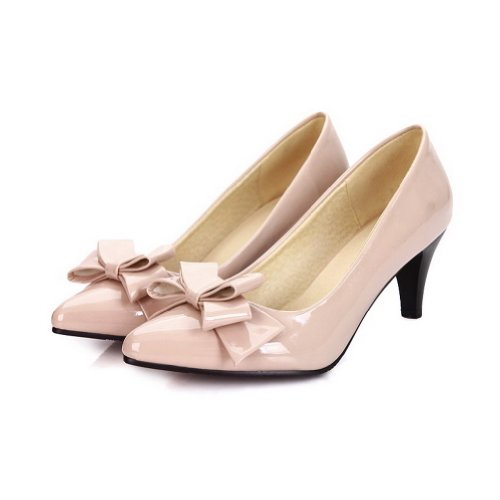 AmoonyFashion Womans Closed Pointed Toe High Heel Spikes Stilettos PU Soft Material Solid Pumps with Bows Beige v9M8HNc
