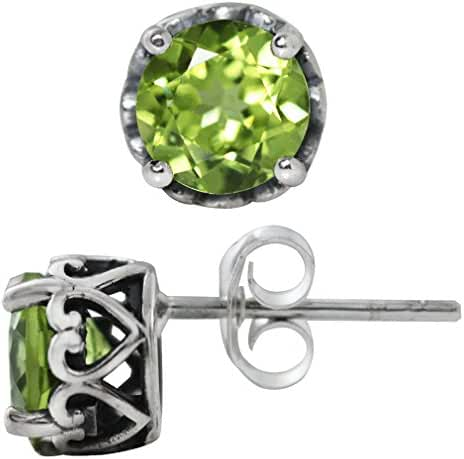 1.78ct. Natural Peridot Oxidized 925 Sterling Silver Victorian Style Stud/Post Earrings