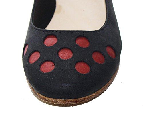 a Nabuk e realizzata di Rosso pallini colorati Ballerina PelleRock mano pelle Scarpa in pelle in Uqtzw8B